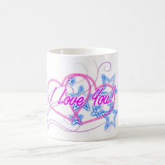 Remolino rosado del amor con las estrellas azules taza clásica