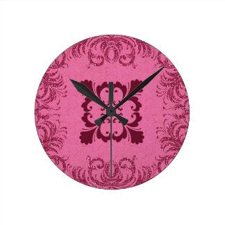 Remolino rosado del brillo reloj de pared
