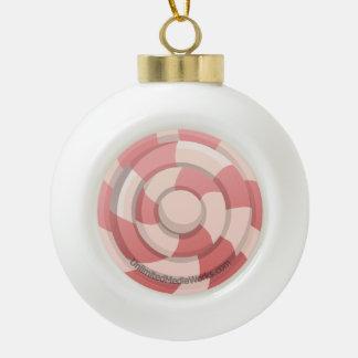Remolino rosado del caramelo adorno de cerámica en forma de bola