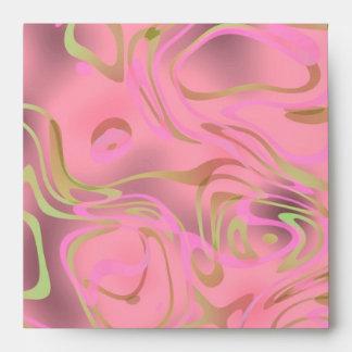 Remolino rosado del oro del sobre