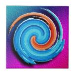Remolino rosado y azul del huracán tejas  cerámicas
