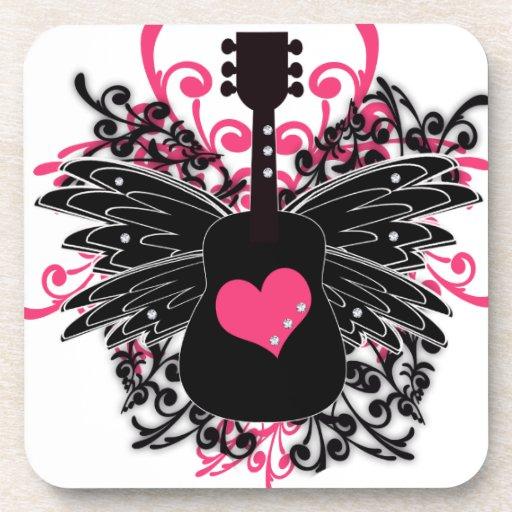 Remolino rosado y negro de la guitarra posavaso