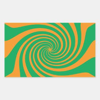 Remolino verde anaranjado pegatina rectangular