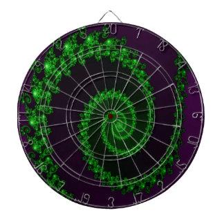 Remolino verde complejo en fractal púrpura tabla dardos