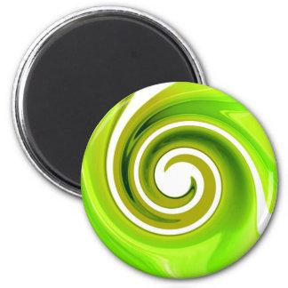 Remolino verde imán redondo 5 cm
