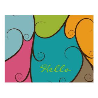 Remolino y Colorblocked multicolores Postales