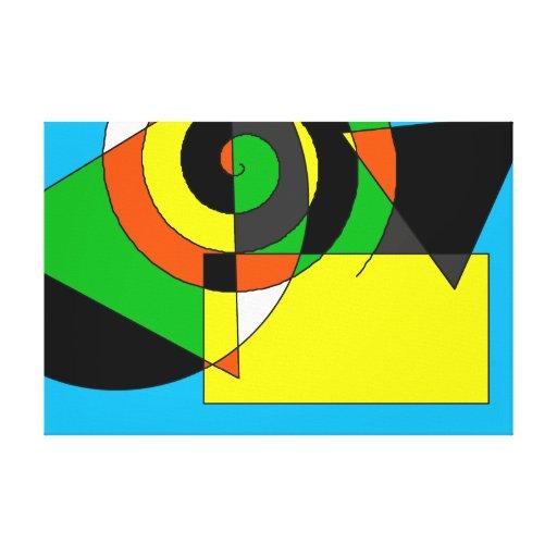 Remolino y formas abstractos multicolores impresión en lienzo estirada