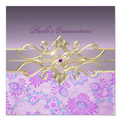 Remolino y invitación púrpuras de Quinceañera de