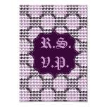 Remolinos a cuadros pintados (púrpuras) (boda) invitación 8,9 x 12,7 cm
