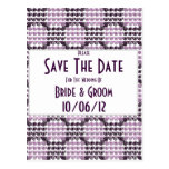 Remolinos a cuadros pintados (púrpuras) (boda) postales