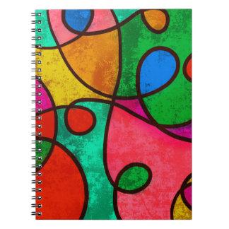 Remolinos abstractos del arco iris de la pintada cuaderno