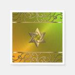 Remolinos afiligranados del oro de Mitzvah del Servilleta Desechable