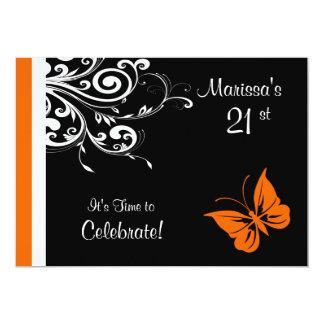 """Remolinos anaranjados de Butterly Invitación 5"""" X 7"""""""