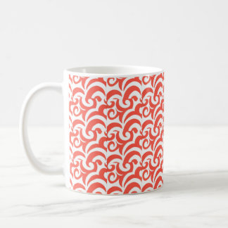 Remolinos anaranjados taza básica blanca