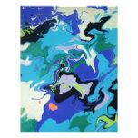 Remolinos azules del mar membrete personalizado