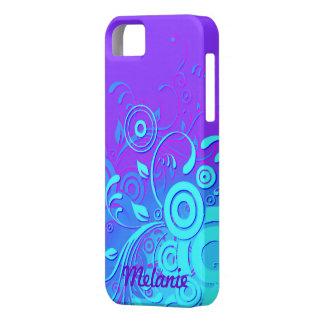 Remolinos azules púrpuras de la turquesa iPhone 5 funda
