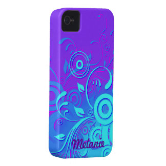 Remolinos azules púrpuras de la turquesa iPhone 4 Case-Mate protectores