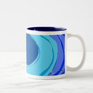 Remolinos azules taza de dos tonos