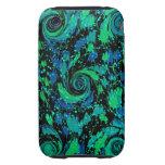 Remolinos azules y verdes abstractos tough iPhone 3 carcasa