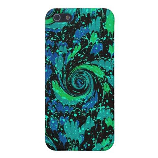 Remolinos azules y verdes abstractos iPhone 5 funda