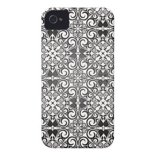 Remolinos blancos y negros elegantes del damasco Case-Mate iPhone 4 cárcasas