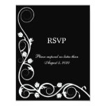 Remolinos blancos y negros elegantes RSVP/tarjeta Invitaciones Personales