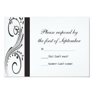 """Remolinos blancos y negros que casan la tarjeta de invitación 3.5"""" x 5"""""""