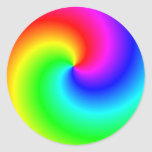 Remolinos brillantes del arco iris pegatina redonda