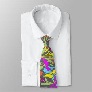 Remolinos coloridos en gris oscuro corbata