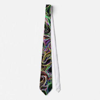 Remolinos coloridos en lazo negro corbata personalizada