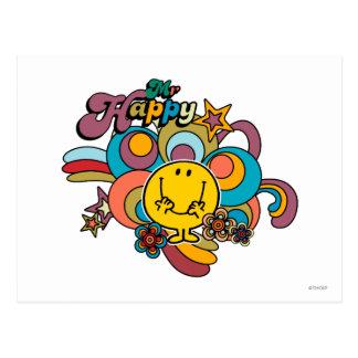 Remolinos coloridos y estrellas de Sr. Happy el | Postal