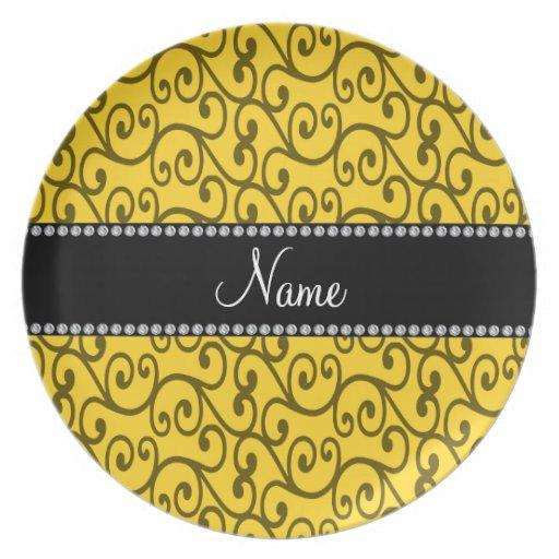Remolinos conocidos personalizados del amarillo platos de comidas