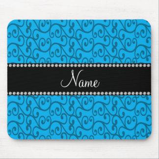 Remolinos conocidos personalizados del azul de cie alfombrilla de ratón