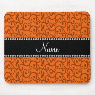 Remolinos conocidos personalizados del naranja tapete de ratón