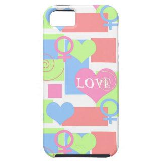 Remolinos, cuadrados y corazones+Amor/muestra Funda Para iPhone SE/5/5s