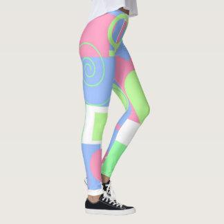Remolinos, cuadrados y corazones/muestra femenina leggings