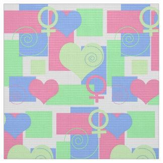 Remolinos, cuadrados y corazones/muestra femenina telas