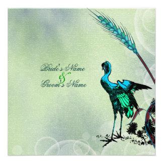 Remolinos de la grúa del boda del verde azul comunicados personales