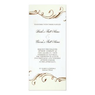 Remolinos de la pluma n del pavo real - invitación invitación 10,1 x 23,5 cm