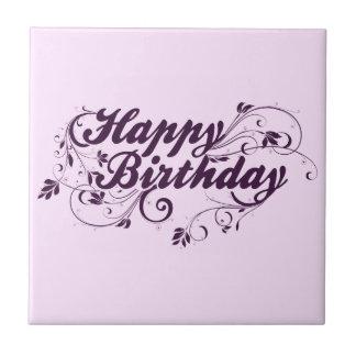 Remolinos de la púrpura del feliz cumpleaños azulejo cuadrado pequeño