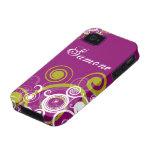Remolinos de la púrpura y del verde vibe iPhone 4 carcasas