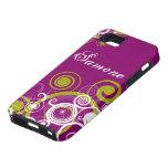 Remolinos de la púrpura y del verde iPhone 5 carcasas