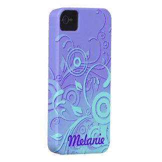 Remolinos de la violeta y de la aguamarina iPhone 4 carcasas