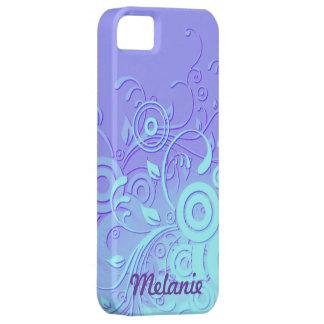 Remolinos de la violeta y de la aguamarina iPhone 5 carcasa