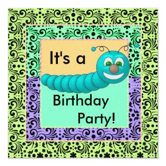 """Remolinos de los gusanos del cumpleaños del color invitación 5.25"""" x 5.25"""""""