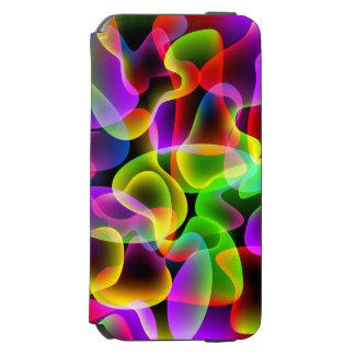 Remolinos de neón multicolores psicodélicos funda billetera para iPhone 6 watson