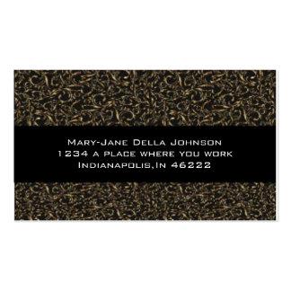 Remolinos de oro de la elegancia clásica en negro tarjeta de negocio