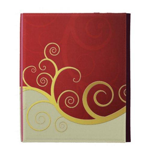 Remolinos de oro elegantes en rojo y crema