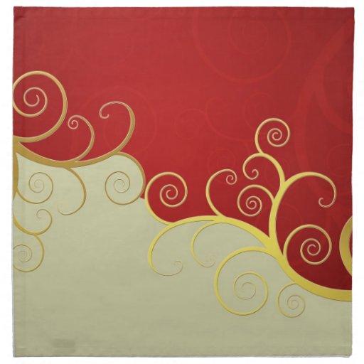 Remolinos de oro elegantes en rojo y crema servilleta imprimida