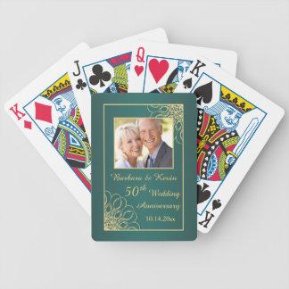 Remolinos de oro en aniversario de boda del trullo cartas de juego